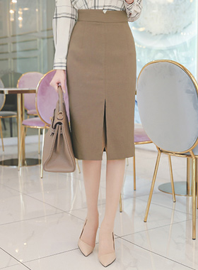 Incision line slit Hline midi skirt