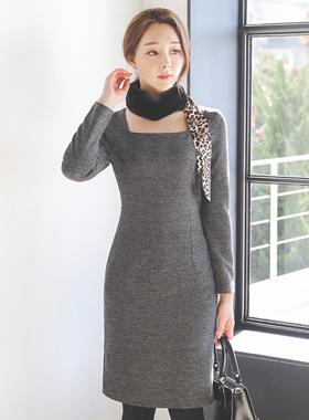 feminine Square Neck Slim Dress