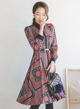Antique Patterns Belt Flare Shirt Dress