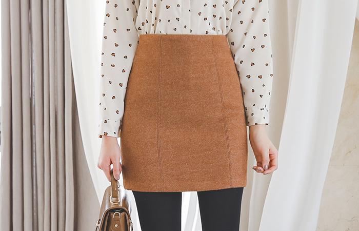 stitch line Wool Mini skirt