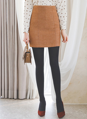 stitch line Wool Mini skirt