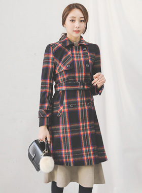 unique tartan check visor Wool Coat