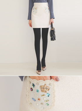 Beads crown lace pocket Wool Mini skirt
