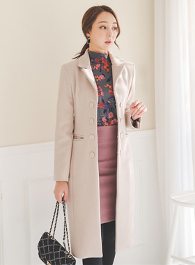 Double-button fur lining Slim Wool Coat