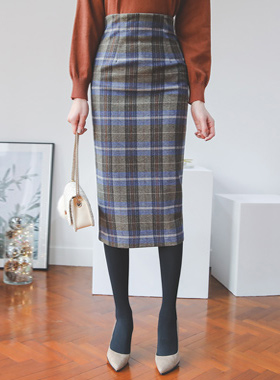 Freddy Tartan Check Wool Midi Skirt