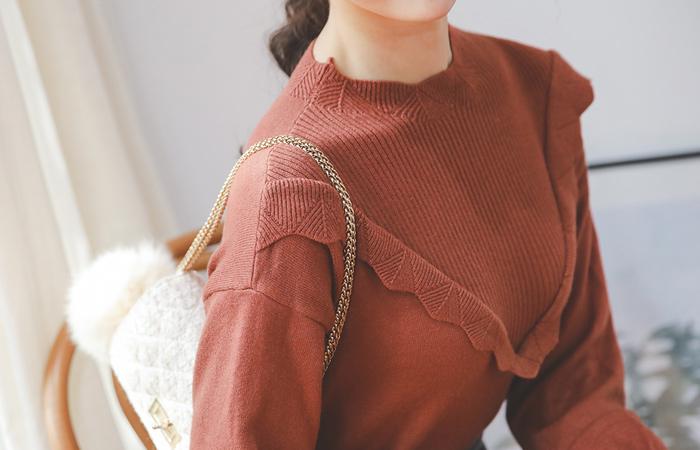 Petit Frill Line Viscose Funnel Neck Knit