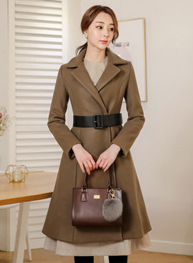Leather Belted Taylor Flare Coat