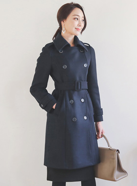 Classic Double-button Trench Wool Coat