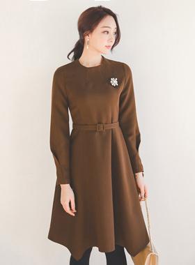 Funnel Neckline Belt Flare Dress