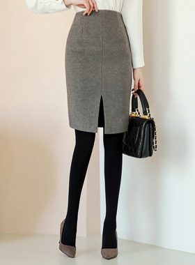 Winter twill slit wool skirt