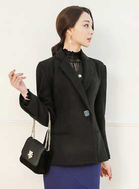Unique Jewel Button Edge Shoulder Wool Jacket