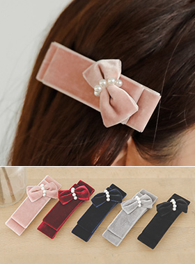 lovely Velvet pearl bowknot hairpin