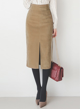 Suede touch corduroy slit Skirt