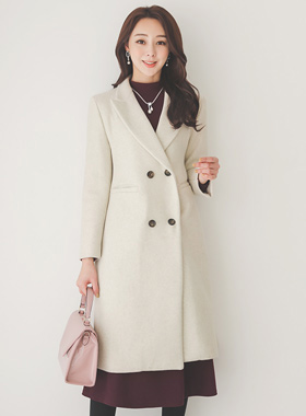 Classic Slim double Woolen Long coat