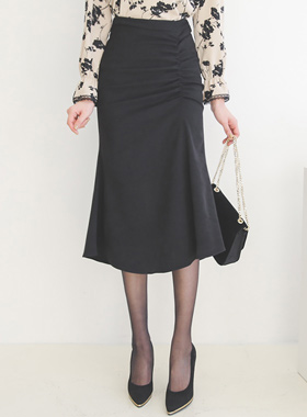 High Waist Pinch Flared Span Skirt