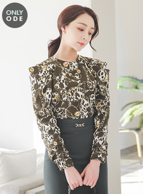 Chain Key Volume Shirring Sleeve Blouse
