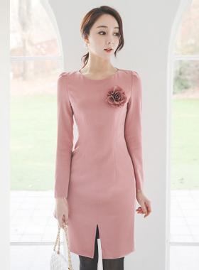 Big Flower Corsage Slit Dress(spring)