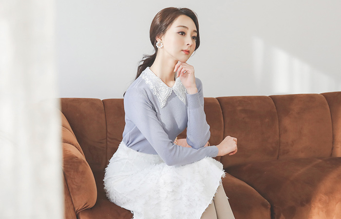 Flower Double Lace Collar Knit
