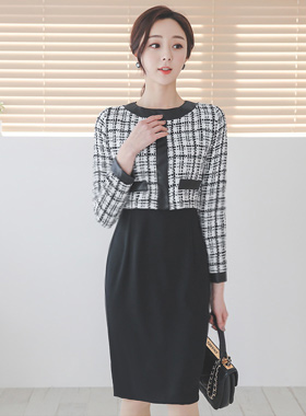 Leather-Line Round-Neck Tweed Dress