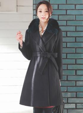 Real Fox Fur muffler Belted Wool Coat