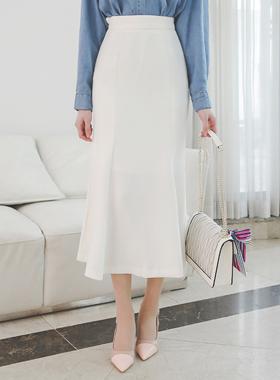 Slim Cutting Flared Long High Skirt