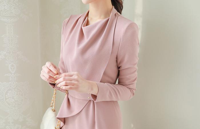 Elegance Turtleneck Peplum Belt Dress