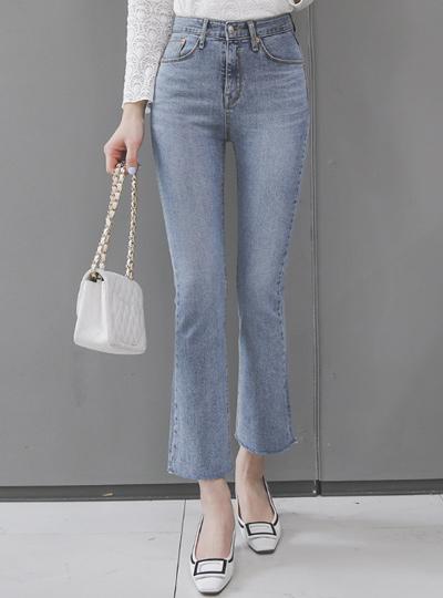 Stone Washing Semi- Boot-Cut Denim Jeans