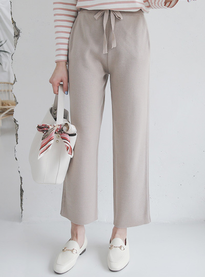 Neutral Soft Wide Knit Pants
