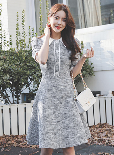 Tweed Big Button Collar Flared Dress