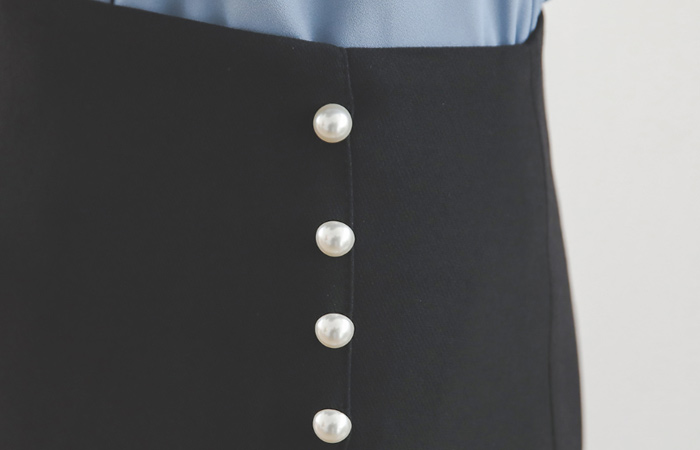 Imitation Pearl Side-Wrap A-line Skirt