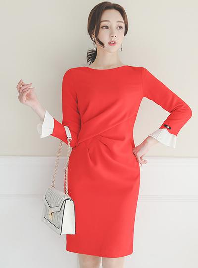 Pinch-Shirring Pearl Pleats Cuffs Dress
