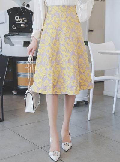 Spring Flower Back Banding Flared Skirt