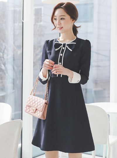 Ribbon Color Combination Piping Pearl Dress