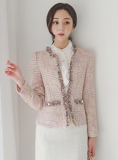 Royal Shine Round Fringe Tweed Jacket