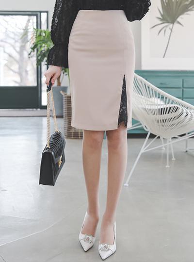 Lace Insert Side Slit Skirt