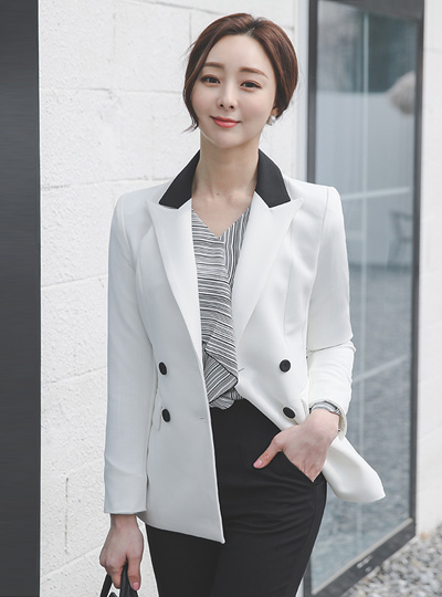 Formal Color Combination Double Tailored Span Jacket
