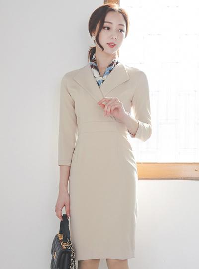 Modern Wing Collar Roll-up Slim Span Dress