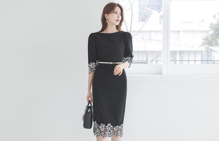 Motive Flower Code Lace Span Dress