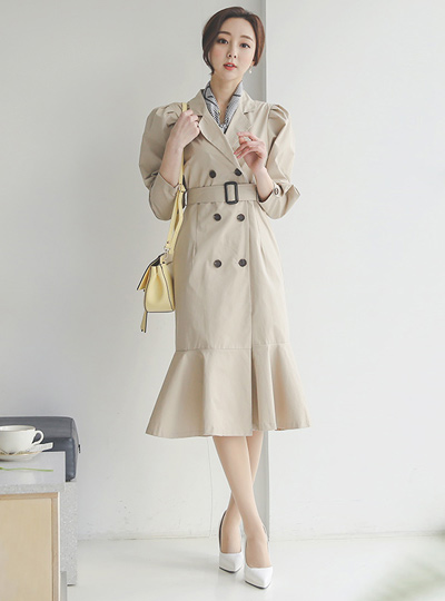 Puff Cotton Trench Dress