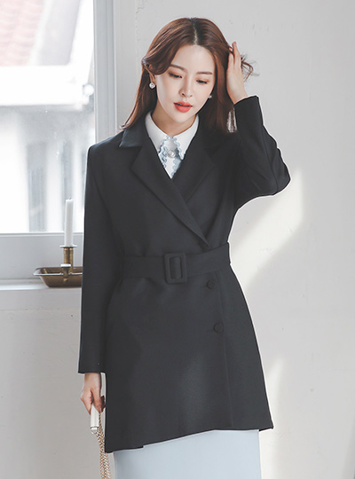 Single Button Belted Tailored Half Jacket