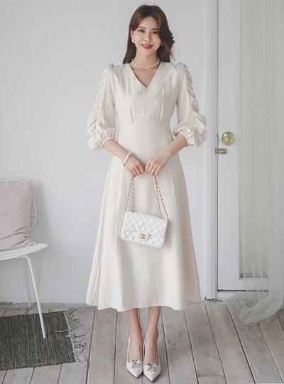 Alice Puff Shirring Flared Dress