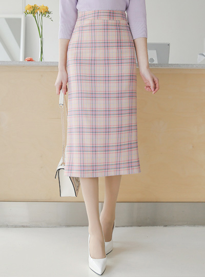 Colorful Glen Plaid Obi Long Skirt