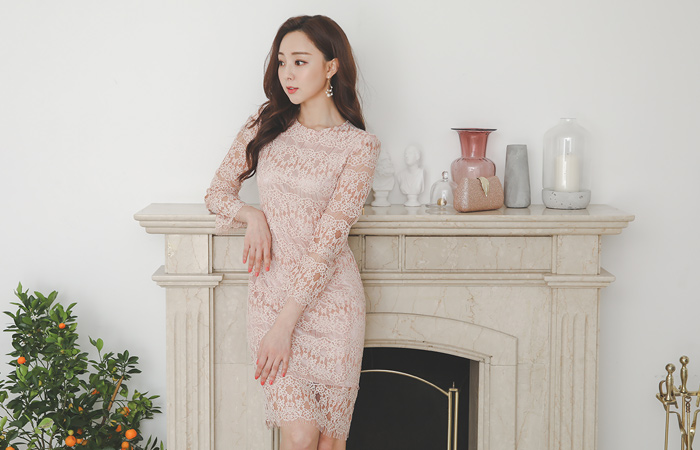 Luxe Guipure See-through Lace Dress