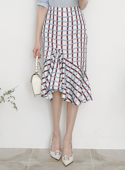 unique Plaid Ruffle Flared Skirt