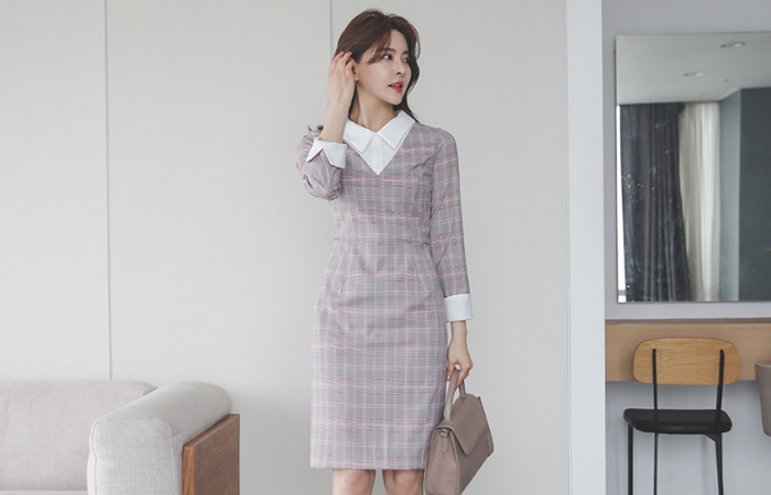 Plaid Check Collar Color matching Dress
