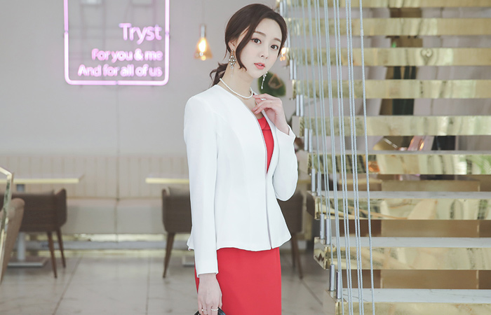 Humming Cutting Double No-collar Jacket(spring)