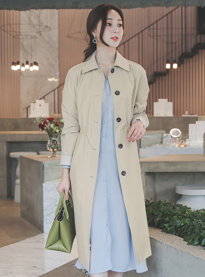 Single Button string Long Trench Coat