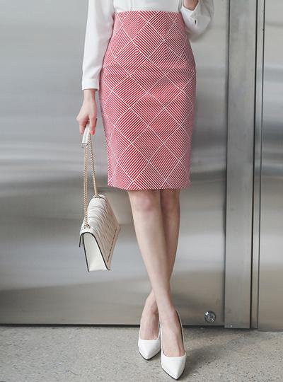 Plaid Jacquard Cotton Span Skirt