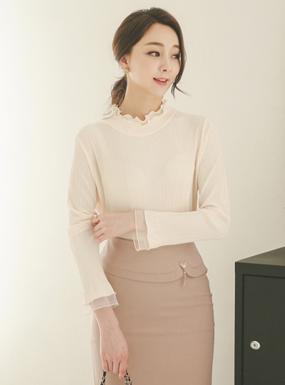 Double Frill Neck Pleats Blouse