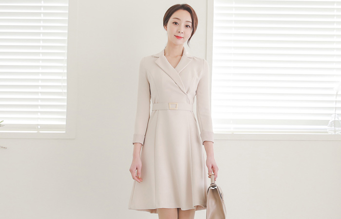 Gold Square Belt Collar Flared Dress